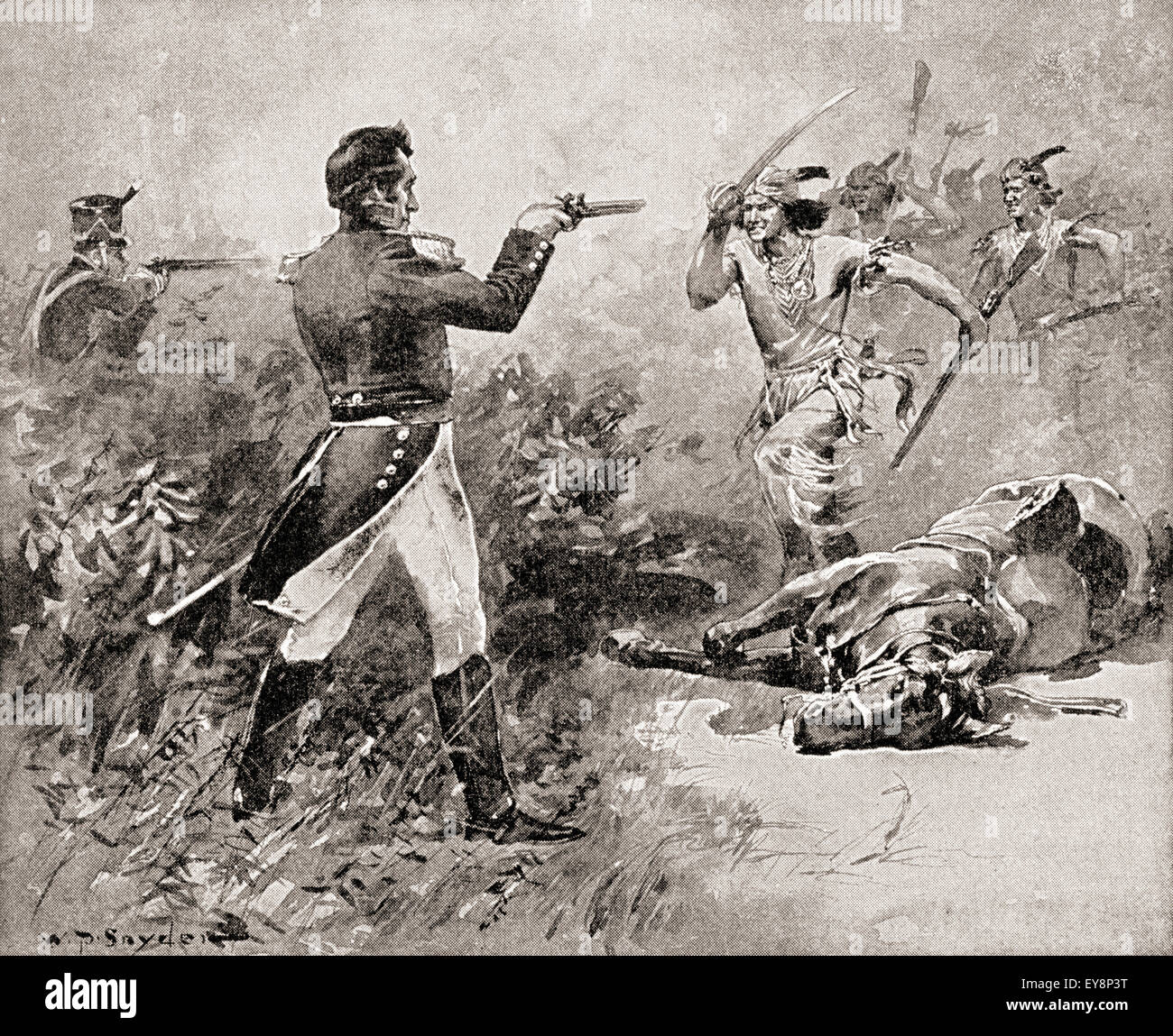 The death of Tecumseh during The Battle of the Thames, October 5, 1813.  Tecumseh, 1768 –1813. Native American leader of the Shawnee and a large  tribal ...
