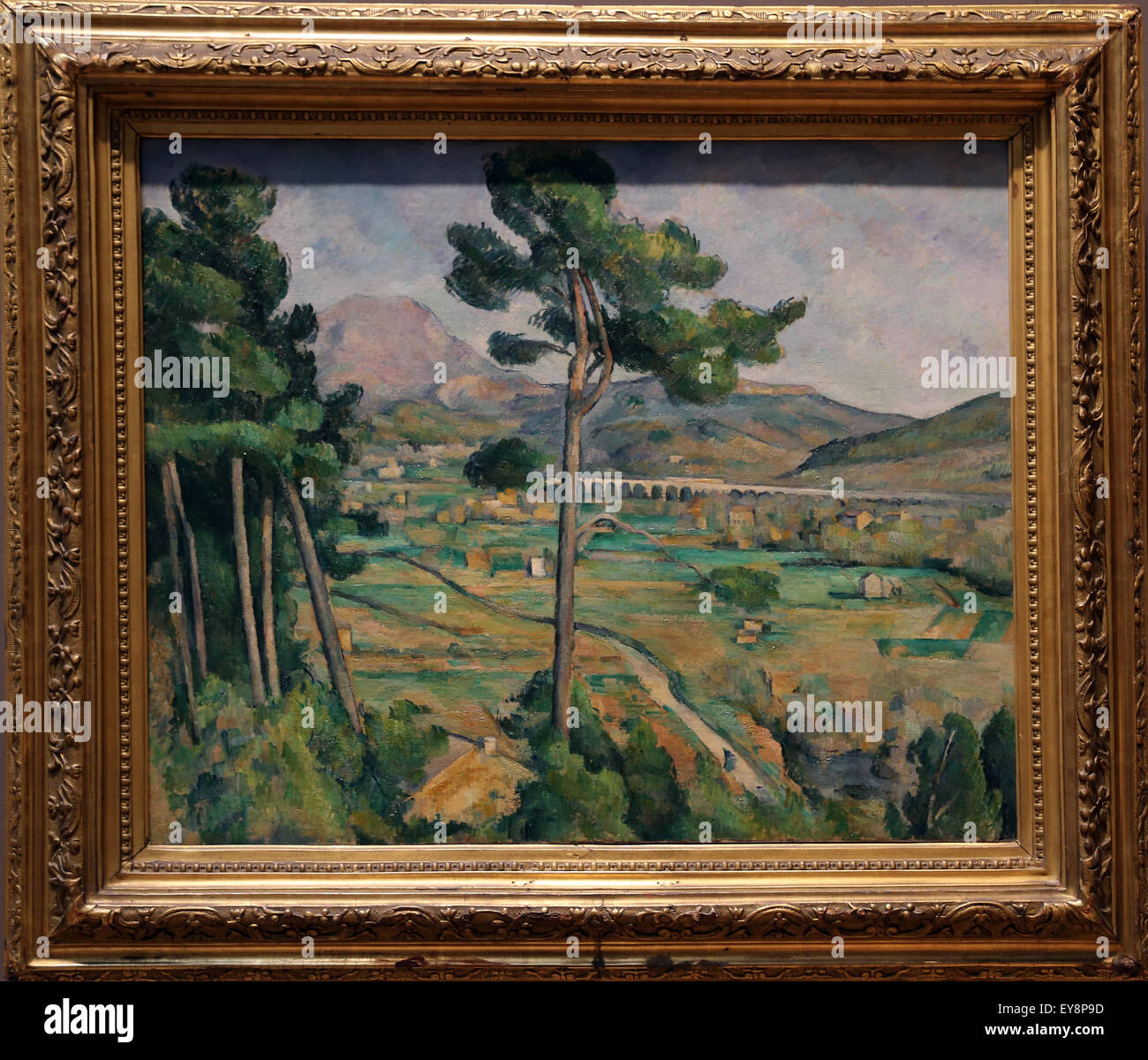 Paul Cezanne (1839-1906). Mont Sainte-Victoire and the Viaduct of the Arc River Vally, 1882-85. Oil on canvas. - Stock Image
