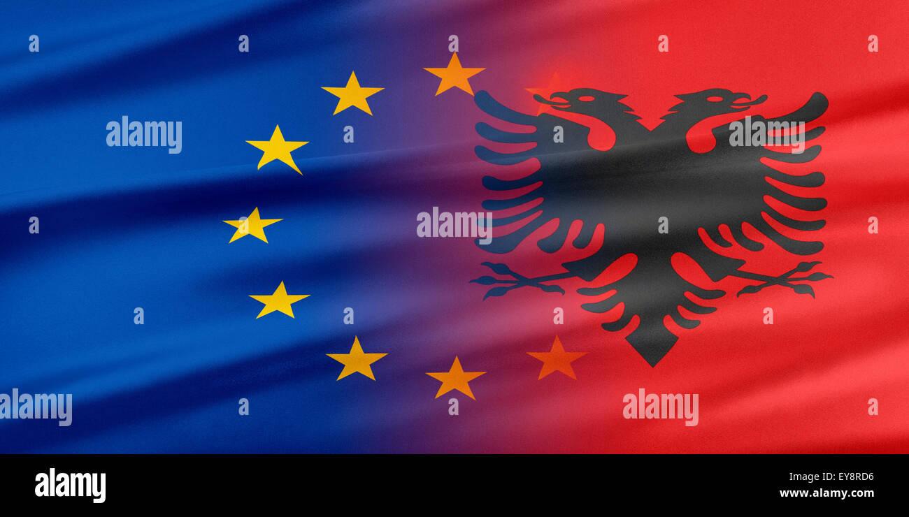 European Union and Albania. - Stock Image