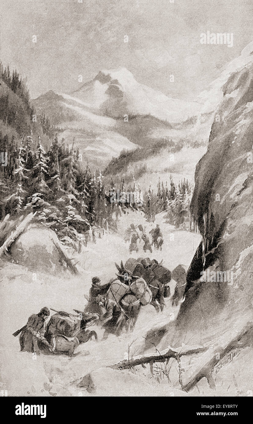 Fremont in The Rocky Mountains, North America during his fourth expedition of 1848.  John Charles Frémont or - Stock Image