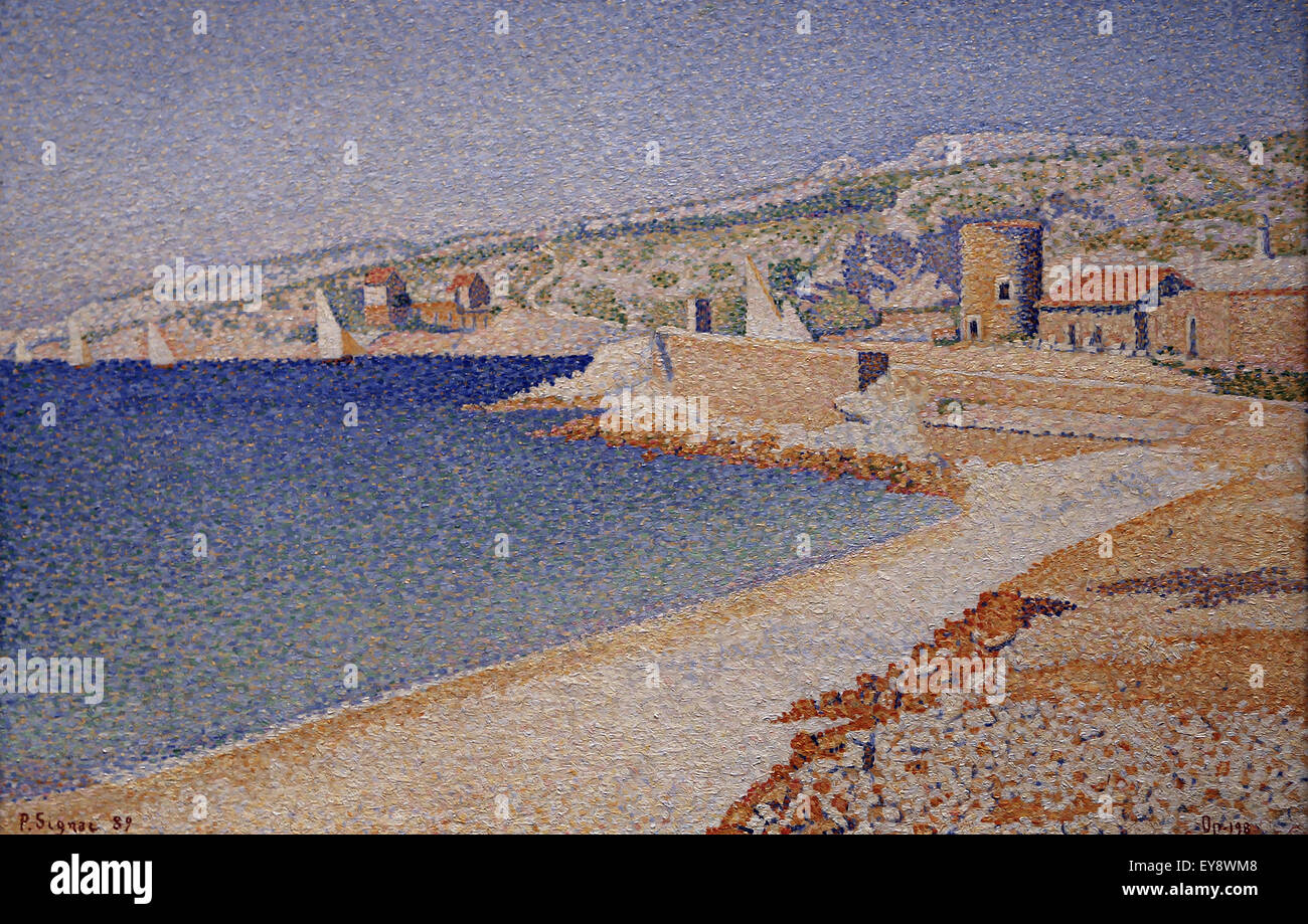 Paul Signac (1863-1935). French painter. The Jetty at Cassis, Opus 198, 1889. Oil on canvas. Metropolitan Museum - Stock Image