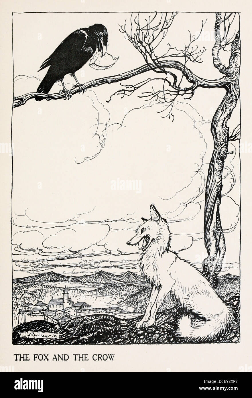 'The Fox and the Crow' fable by Aesop (circa 600BC). In the fable a crow has found a piece of cheese and - Stock Image