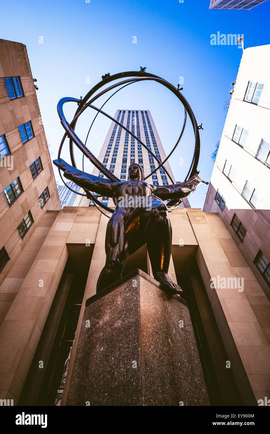 Atlas statue in Manhattan, New York. - Stock Image
