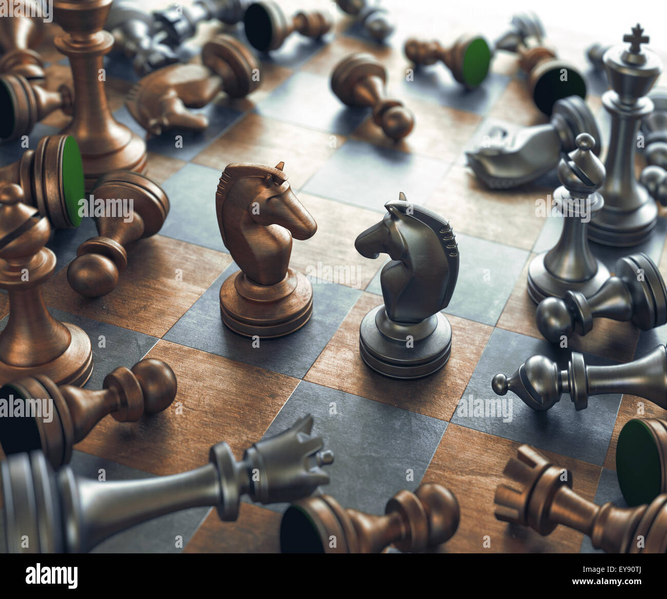 Dispute face to face in chess. - Stock Image