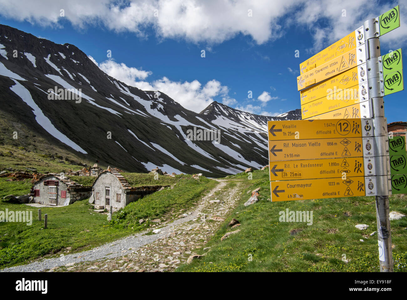 Signpost in Val Veny, valley of the Mont Blanc massif in the Italian Alps - Stock Image