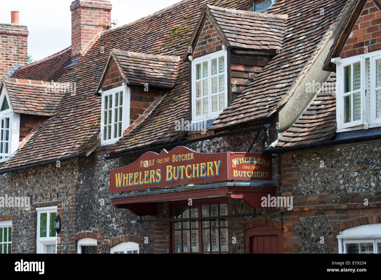 The Old Butchers shop cottage with sign in Hambleden, Buckinghamshire, England - Stock Image