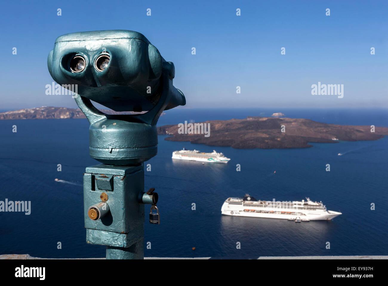 Terrace, Binocular, Santorini, Cyclades Islands, Greece, Europe - Stock Image