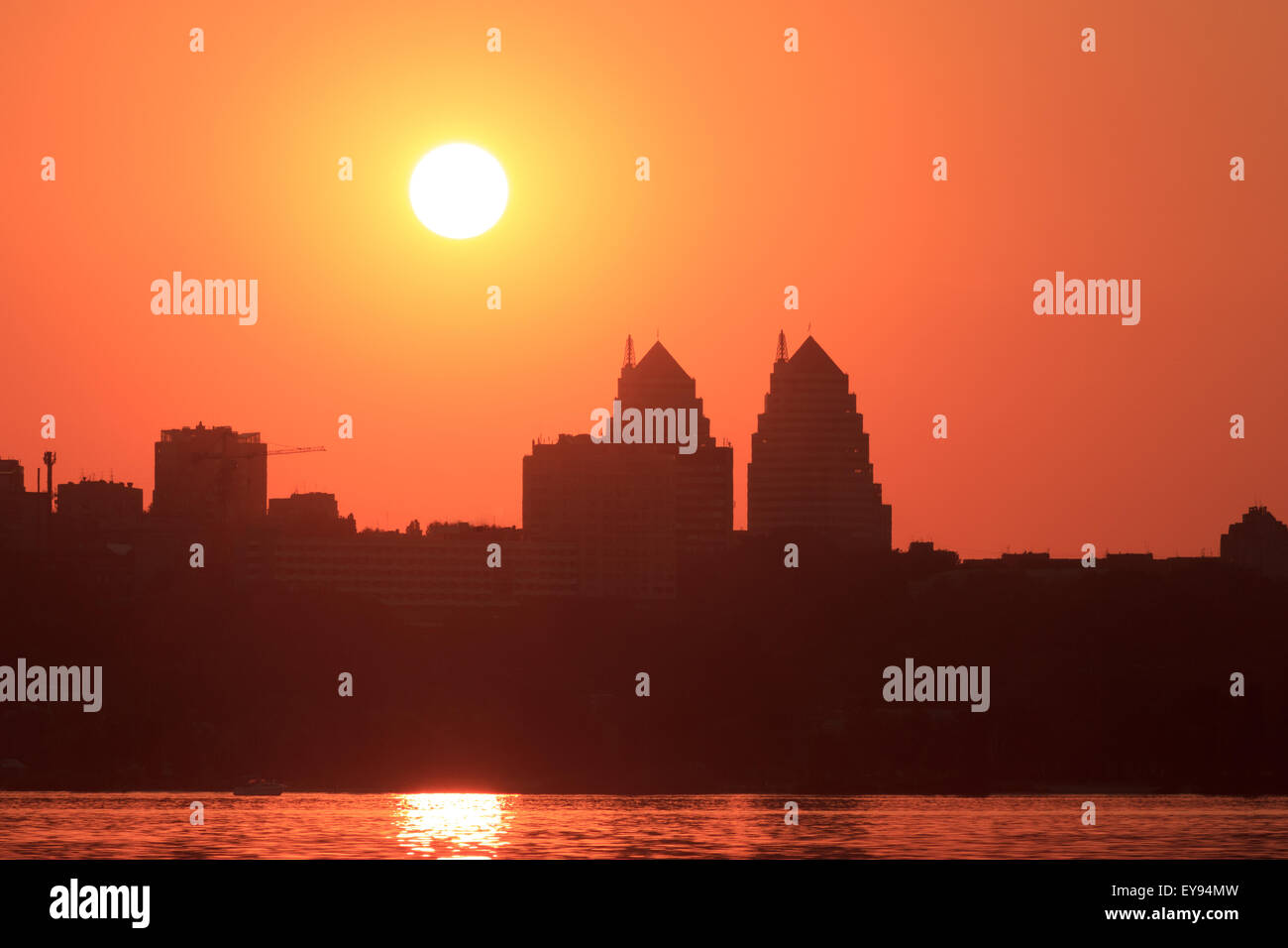 Urban sunset in Dnipropetrovsk - Stock Image