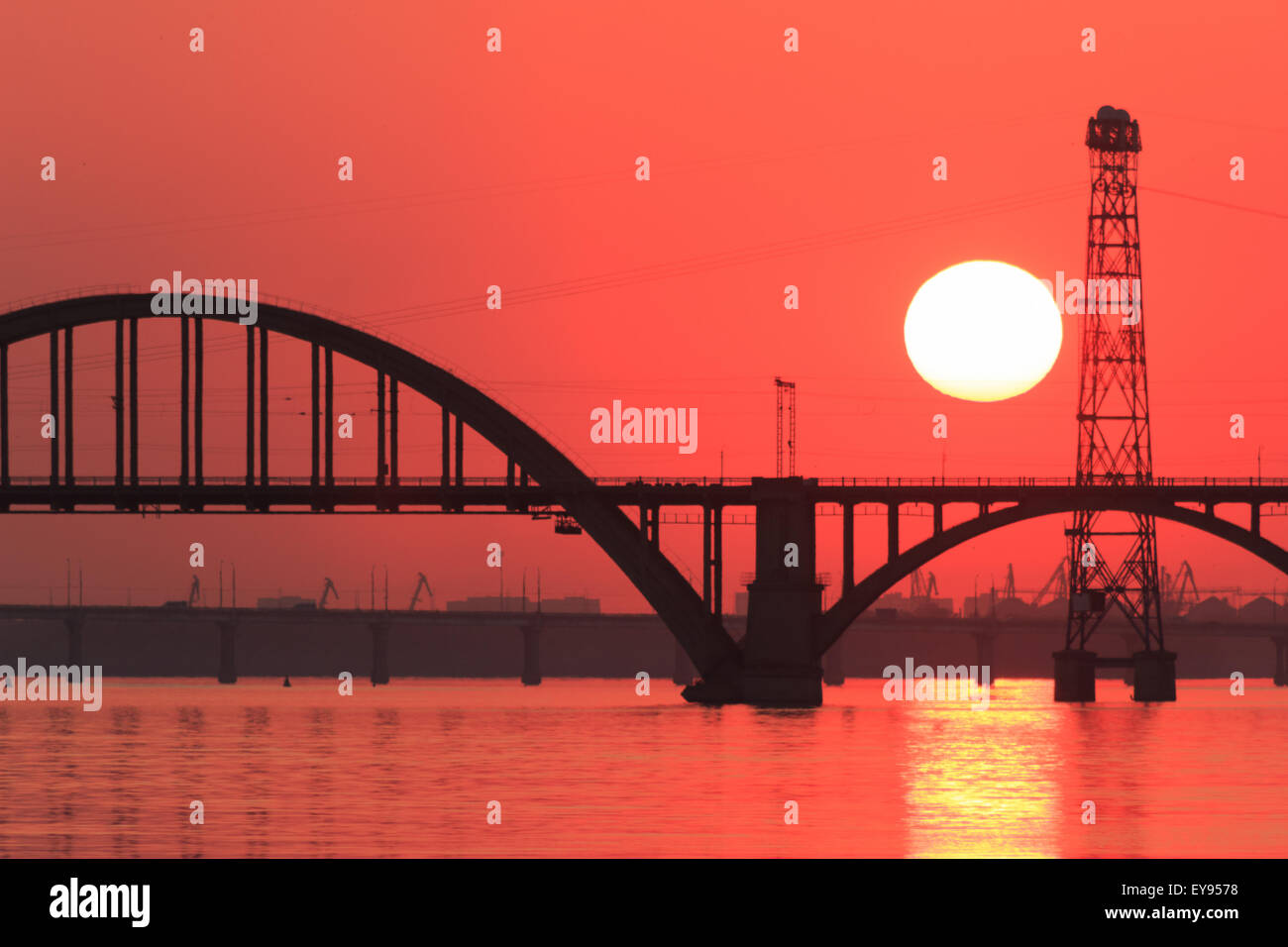 Sunset over river - Stock Image