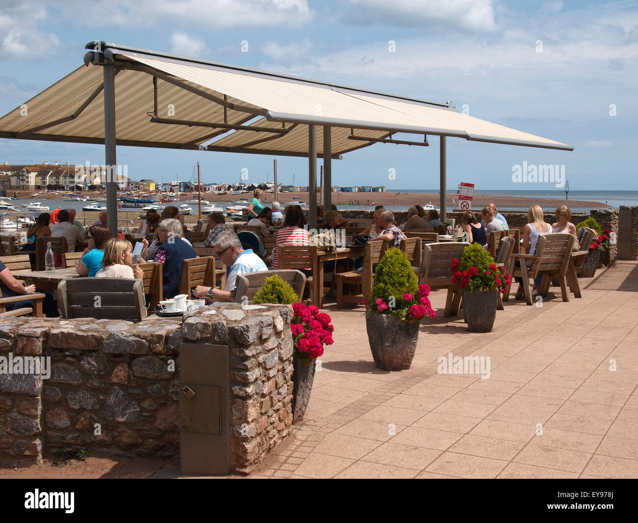 Outside eating area of the Clipper Café overlooking the Teign Estuary, Shaldon, Devon, UK - Stock Image