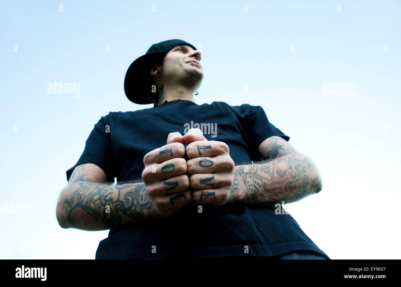 Band member with love tattoos - Stock Image