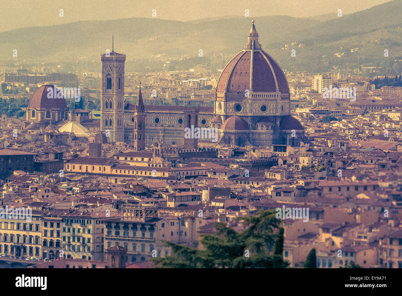 Florence Cathedral or Duomo with dome designed by Flippo Brunelleschi. Florence, Italy. - Stock Image