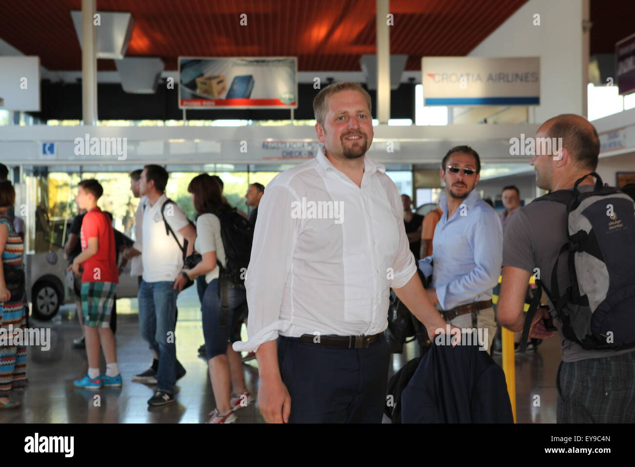 Liberland President Vit Jedlicka arrives at Osijek Airport, Croatia, July 2015 Stock Photo