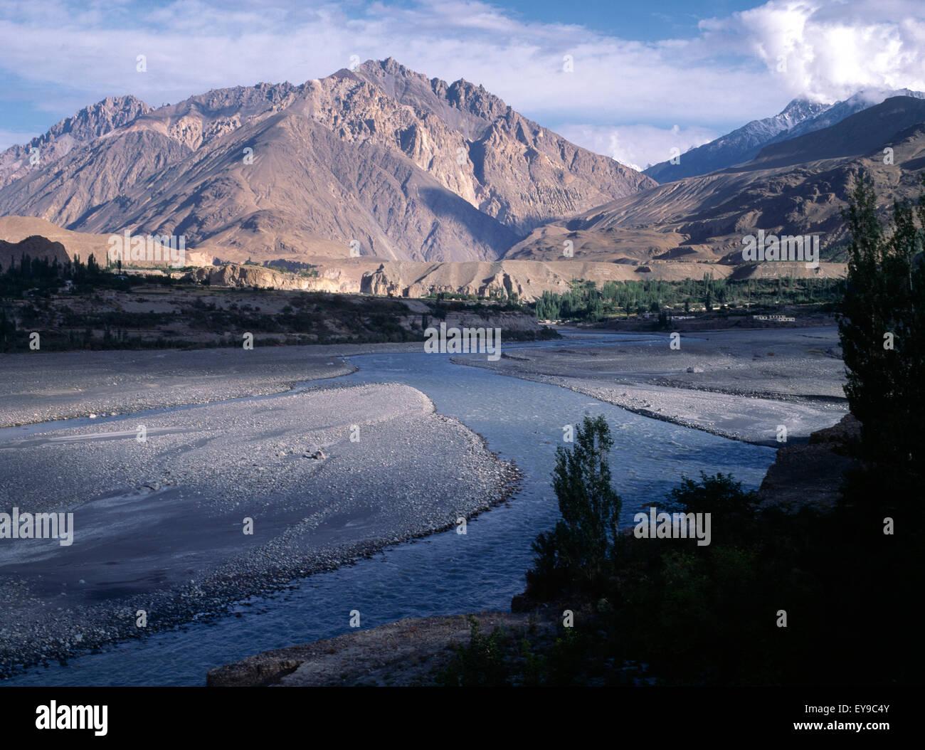 Northern Areas Pakistan Gojal Region Near Passu Hunza River Fed By Glacier Melt Stock Photo