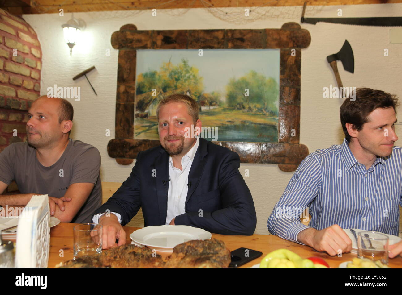 Vit Jedlicka is having supper in Serbia with Pierre-Louis Boitel, ambassador to Liberland in France Stock Photo