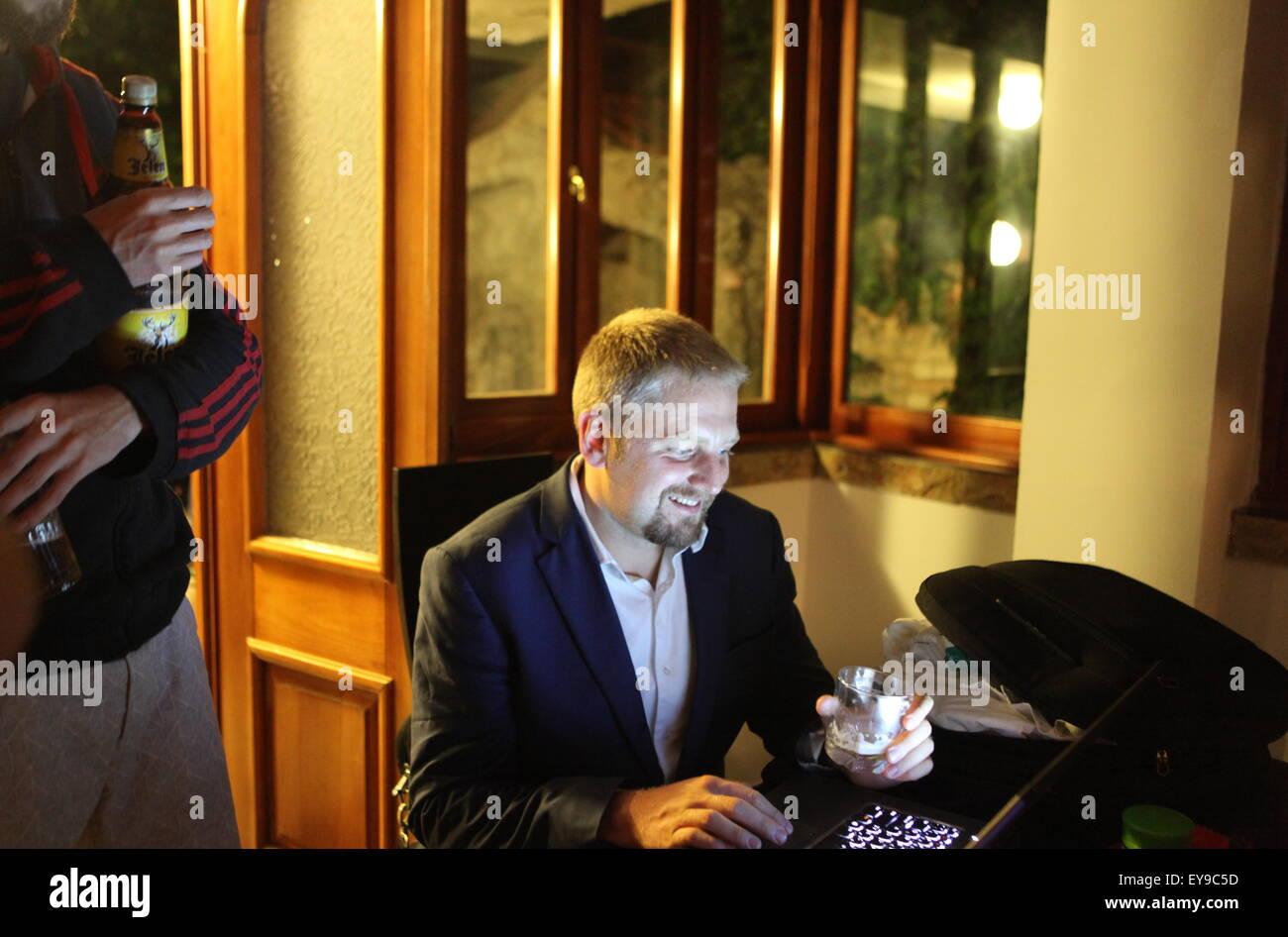 Vit Jedlicka is listening to Liberland future national anthem - Stock Image