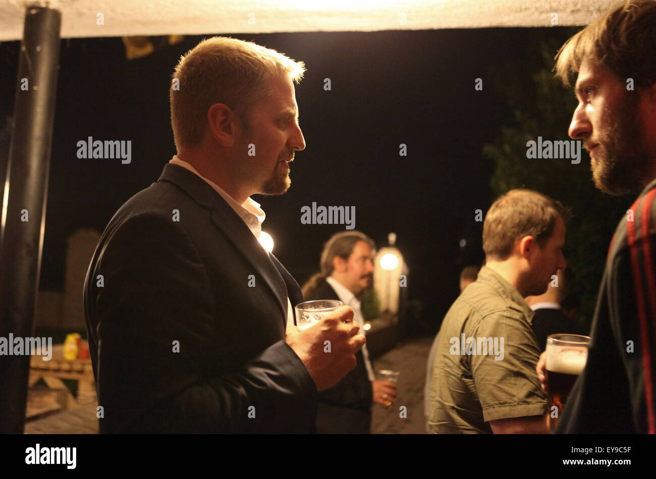 Party at the LSA (Liberland Settlement Association) house with Liberland president Vit Jedlicka. - Stock Image