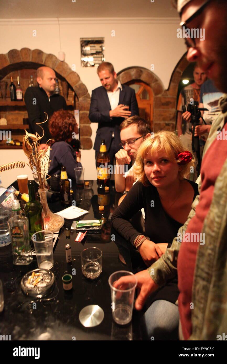 Party at LSA  (Liberland Settlement Association) house /  La fête dans une des maisons de la LSA - Stock Image