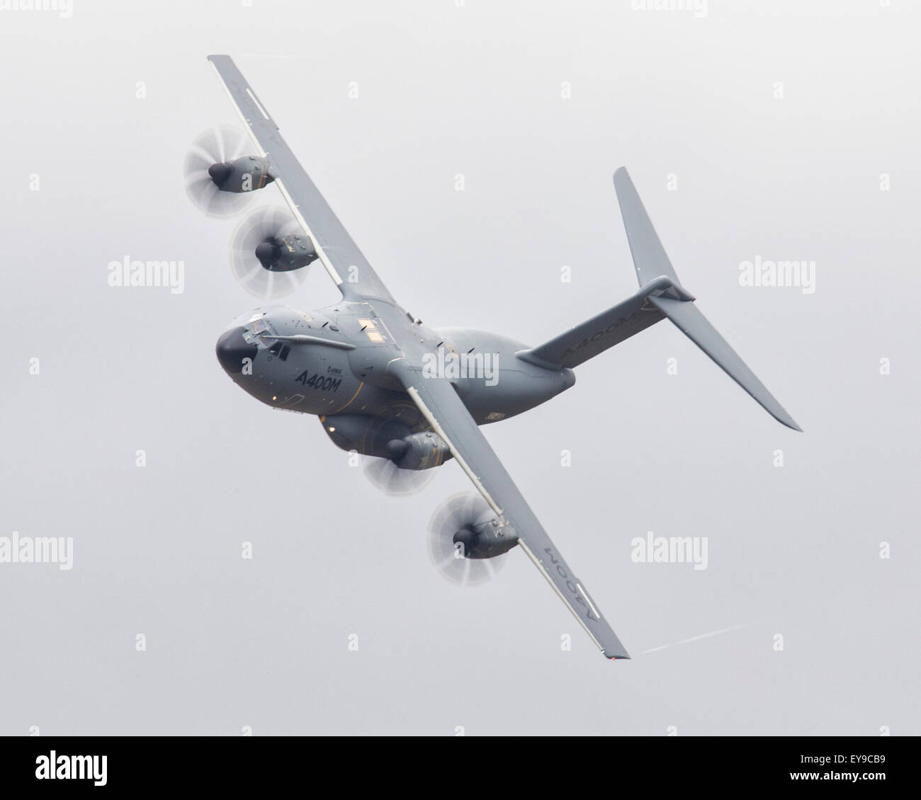 Airbus A400-M military transport aircraft flying at the 2015 Royal International Air Tattoo - Stock Image