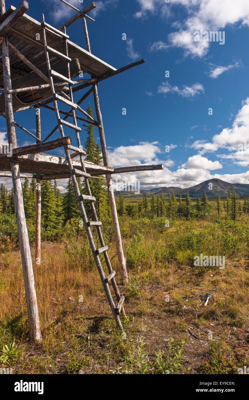 Log cache at a cabin site on the Noatak River, below the upper Noatak River Canyon, Noatak, Arctic Alaska, USA, - Stock Image