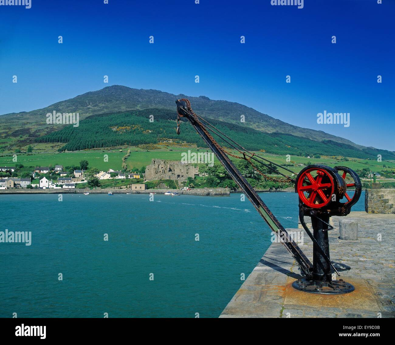 Crane At King John's Castle Completed In 1210; Carlingford, County Louth, Ireland - Stock Image