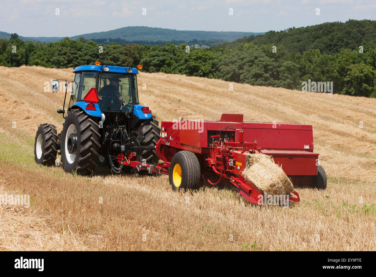 New Holland Tractor Bedding : Square baler stock photos images alamy