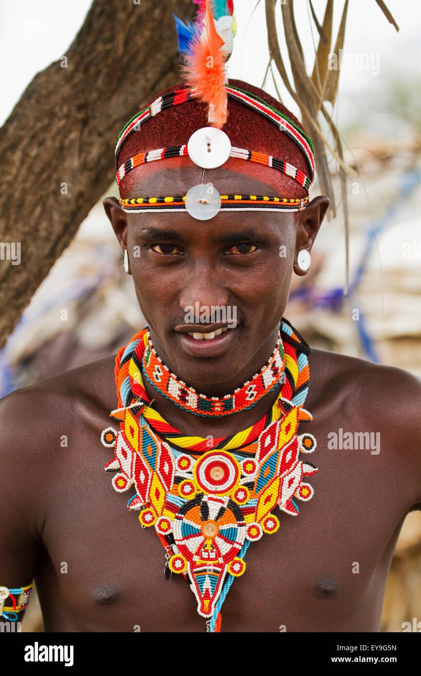 Samburu man, Samburu County; Kenya - Stock Image