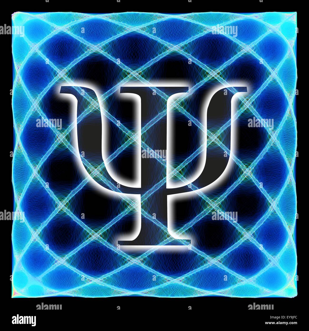 Computer artwork of the greek letter psi and a Lissajous figure in the background. The letter psi is commonly used - Stock Image