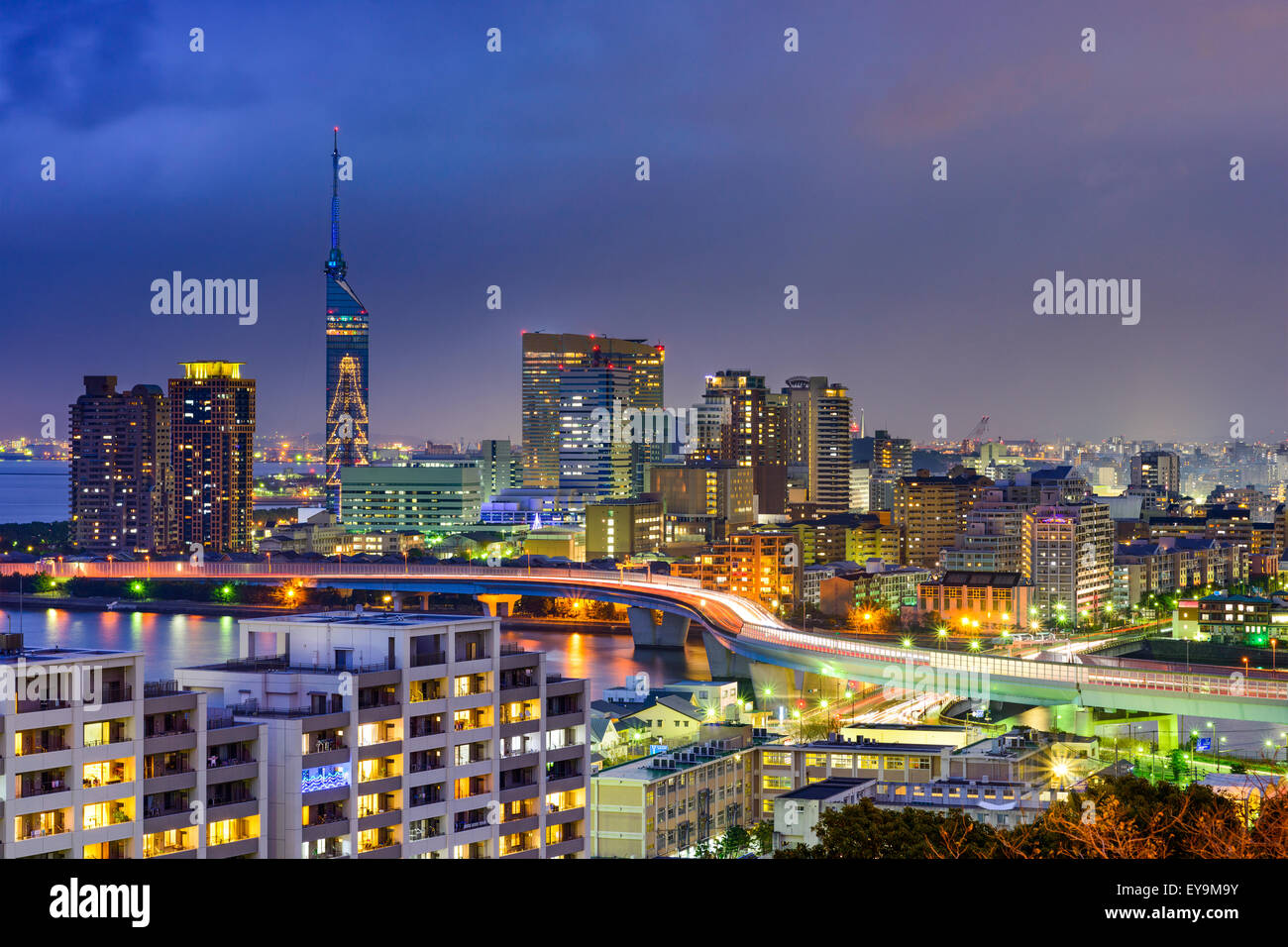 Fukuoka, Japan city skyline at night. - Stock Image