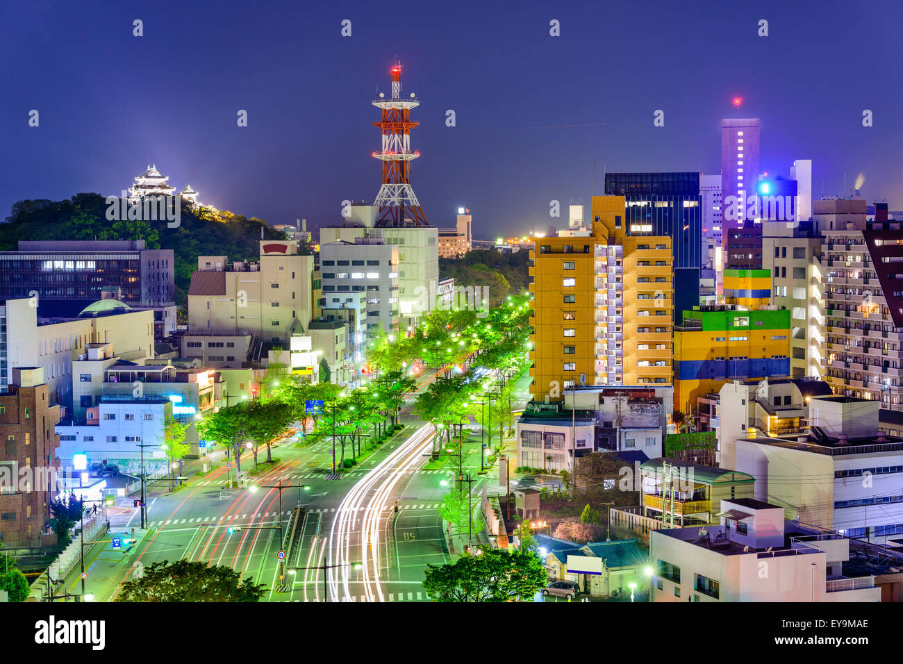 Wakayama City, Japan downtown skyline. - Stock Image