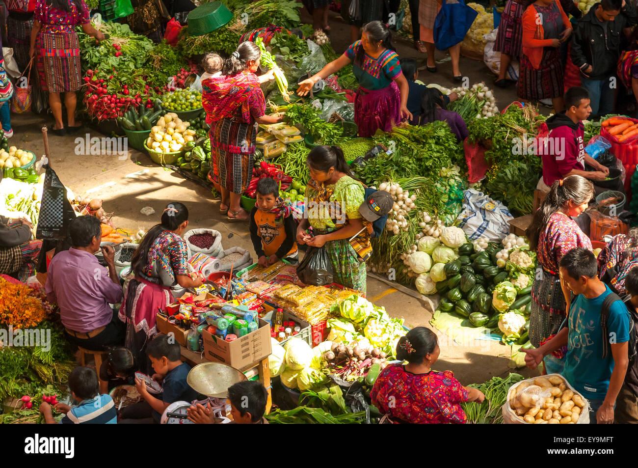 Sunday Vegetable Market, Chichicastenango, Guatemala - Stock Image
