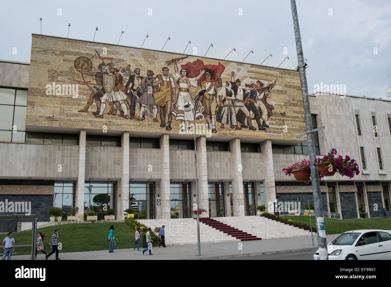 Murales in the most important place of Albania capital,  Giorgio Castriota Skanderbeg Place, Tirana, Albania - Stock Image