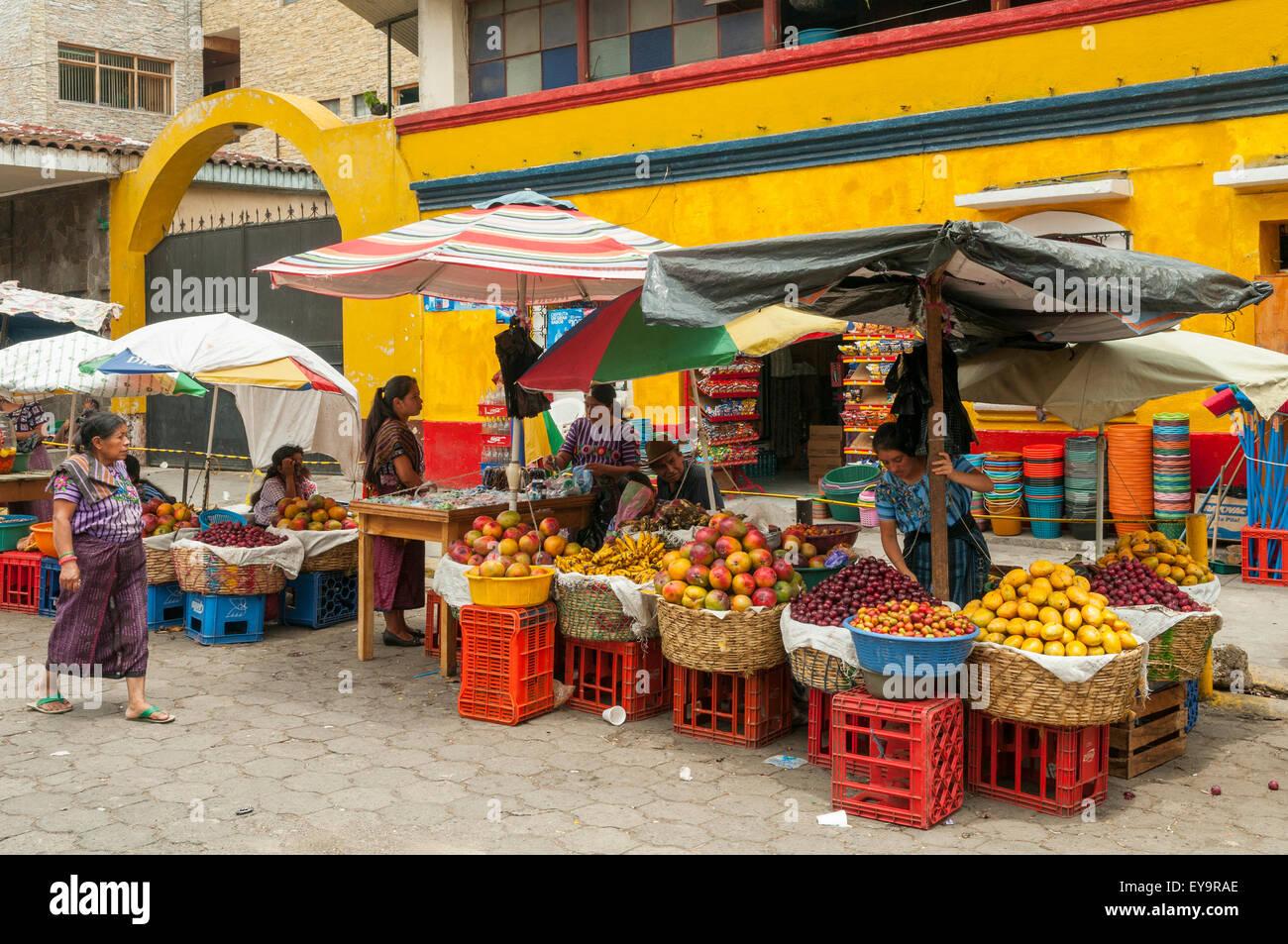 Fruit Stall in Street Market, Santiago Atitlan, Guatemala - Stock Image