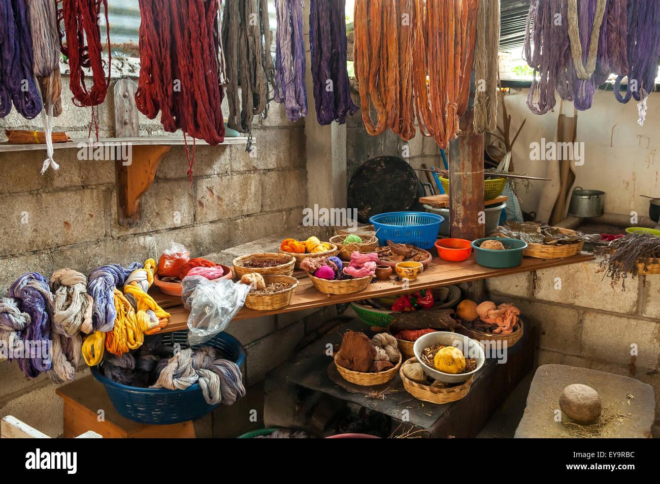 Dyed Cotton at Weaving Factory, San Juan La Laguna, Lake Atitlan, Guatemala - Stock Image