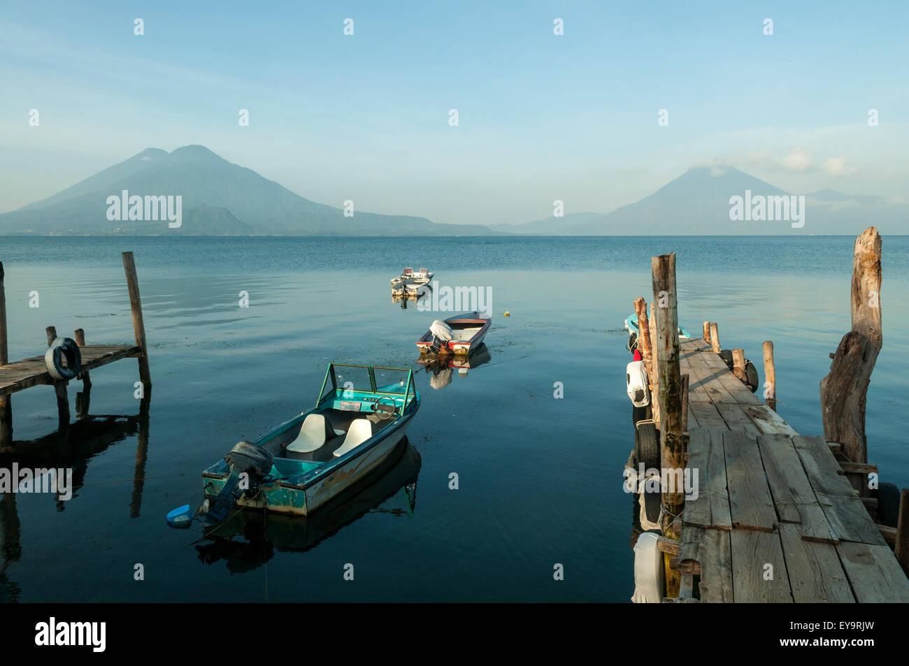 Volcanoes of Lake Atitlan, Guatemala - Stock Image