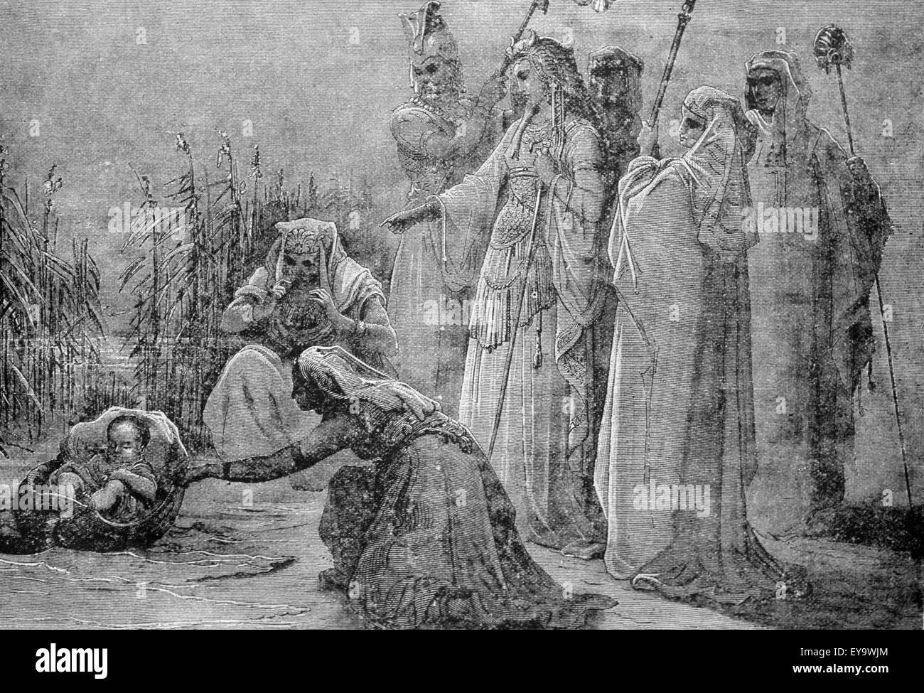 Lithograph of the infant Moses found by the pharaoh's daughter - Stock Image