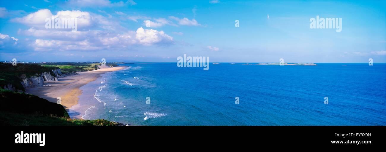 White Rocks, Portrush, Co Antrim, Ireland; Limestone Cliffs And The Atlantic Stock Photo