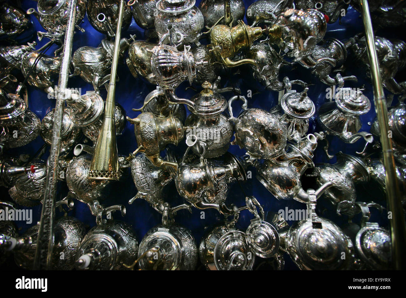 Silver Teapots In A Market Stall In The Souk. - Stock Image