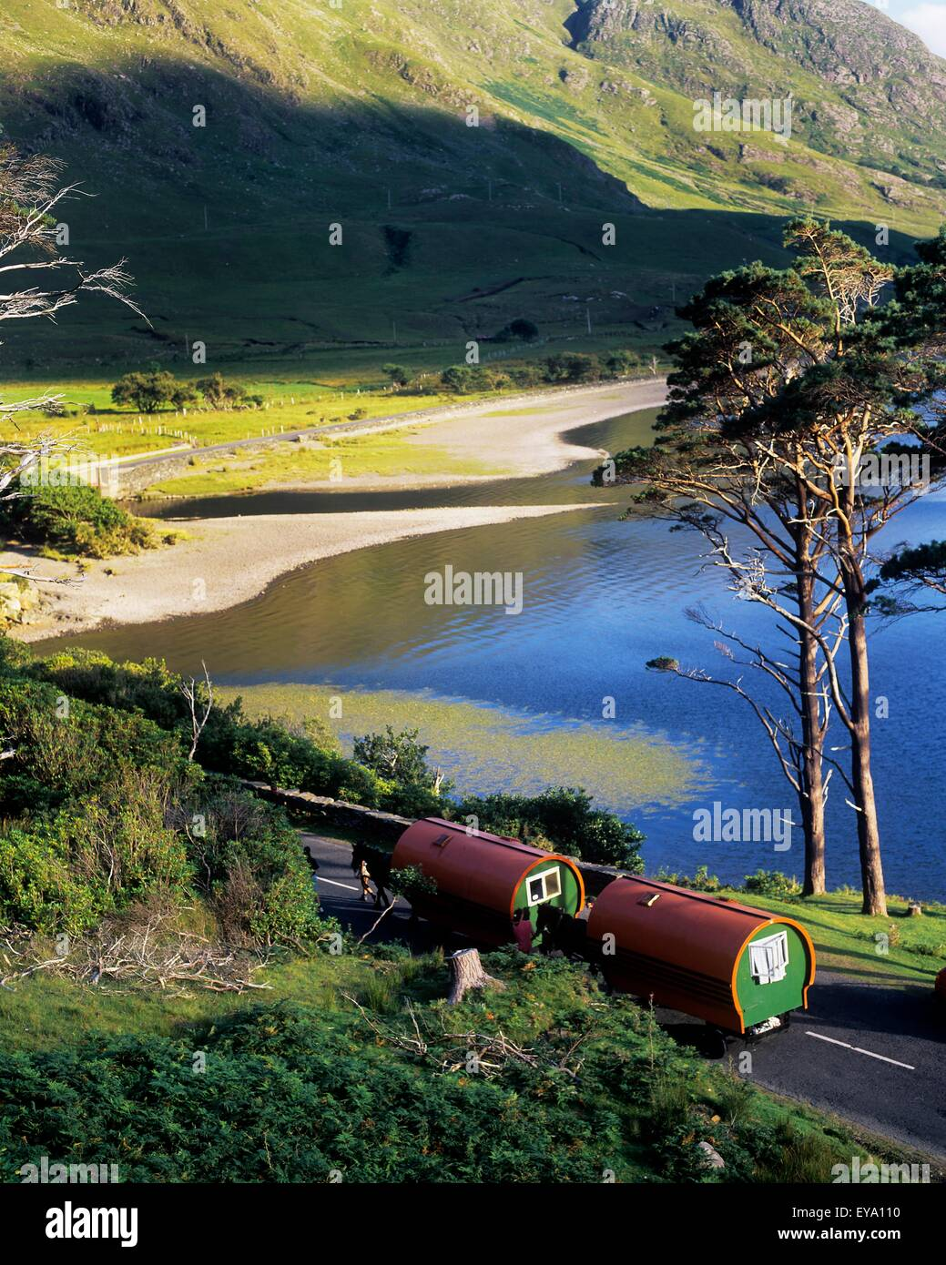 High Angle View Of Two Mobile Homes On The Road, Doo Lough Pass, County Mayo, Republic Of Ireland - Stock Image