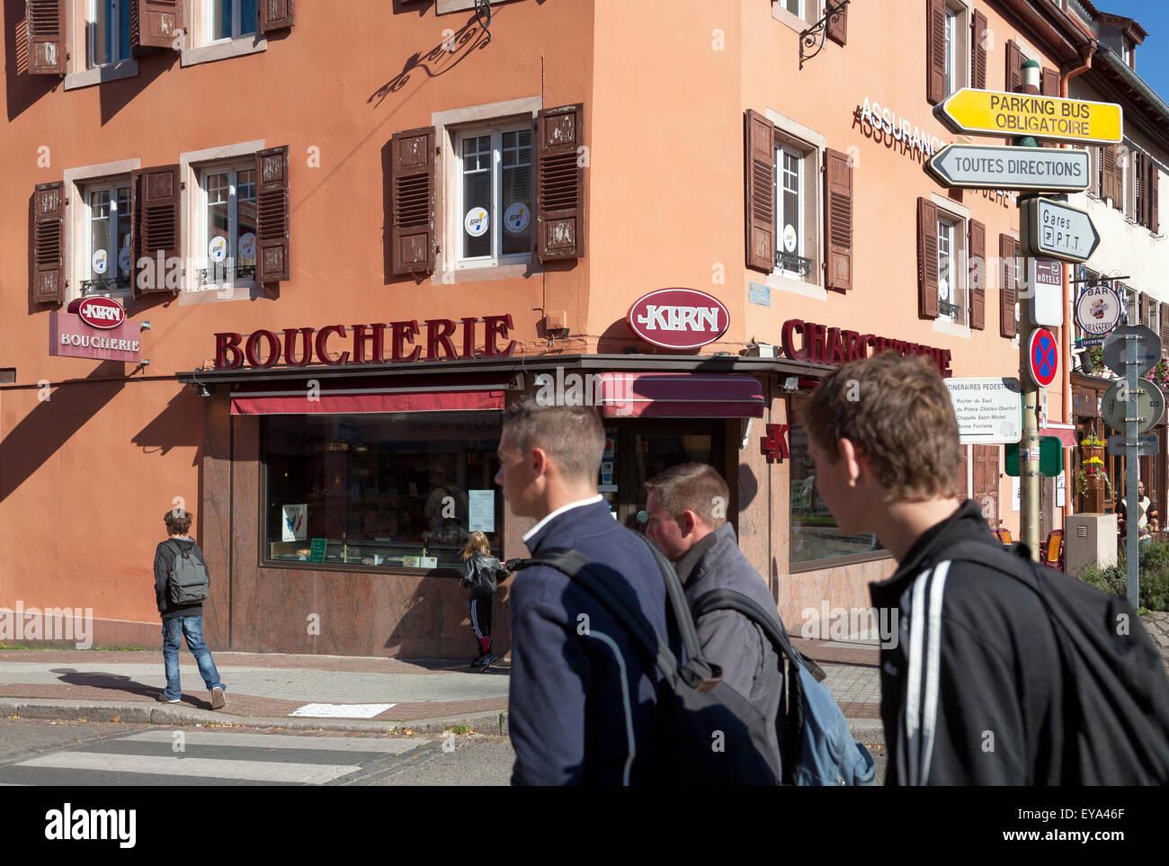 Saverne, France, a butcher shop on a street corner - Stock Image