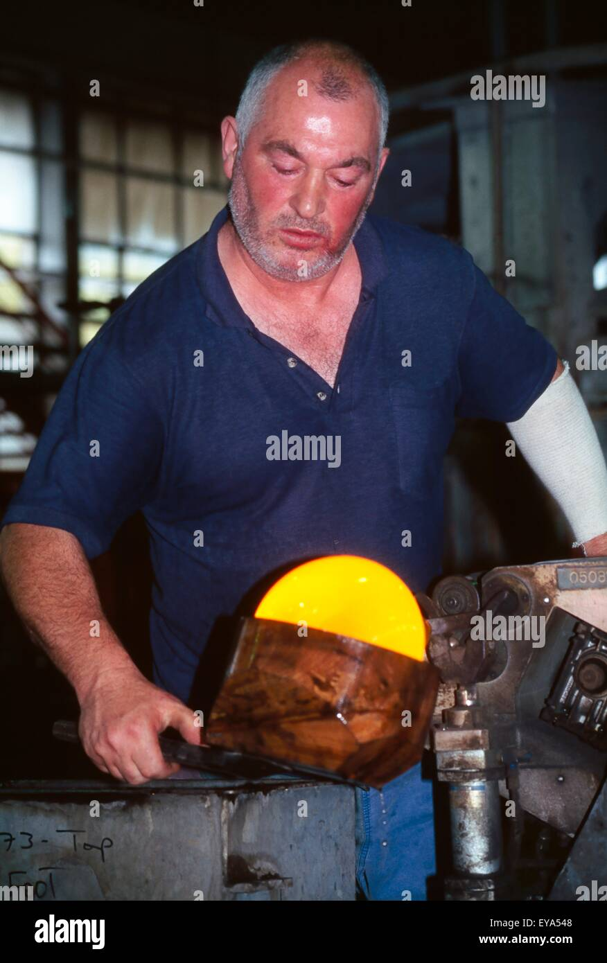 County Waterford, Ireland; Glassblowing At A Crystal Factory - Stock Image