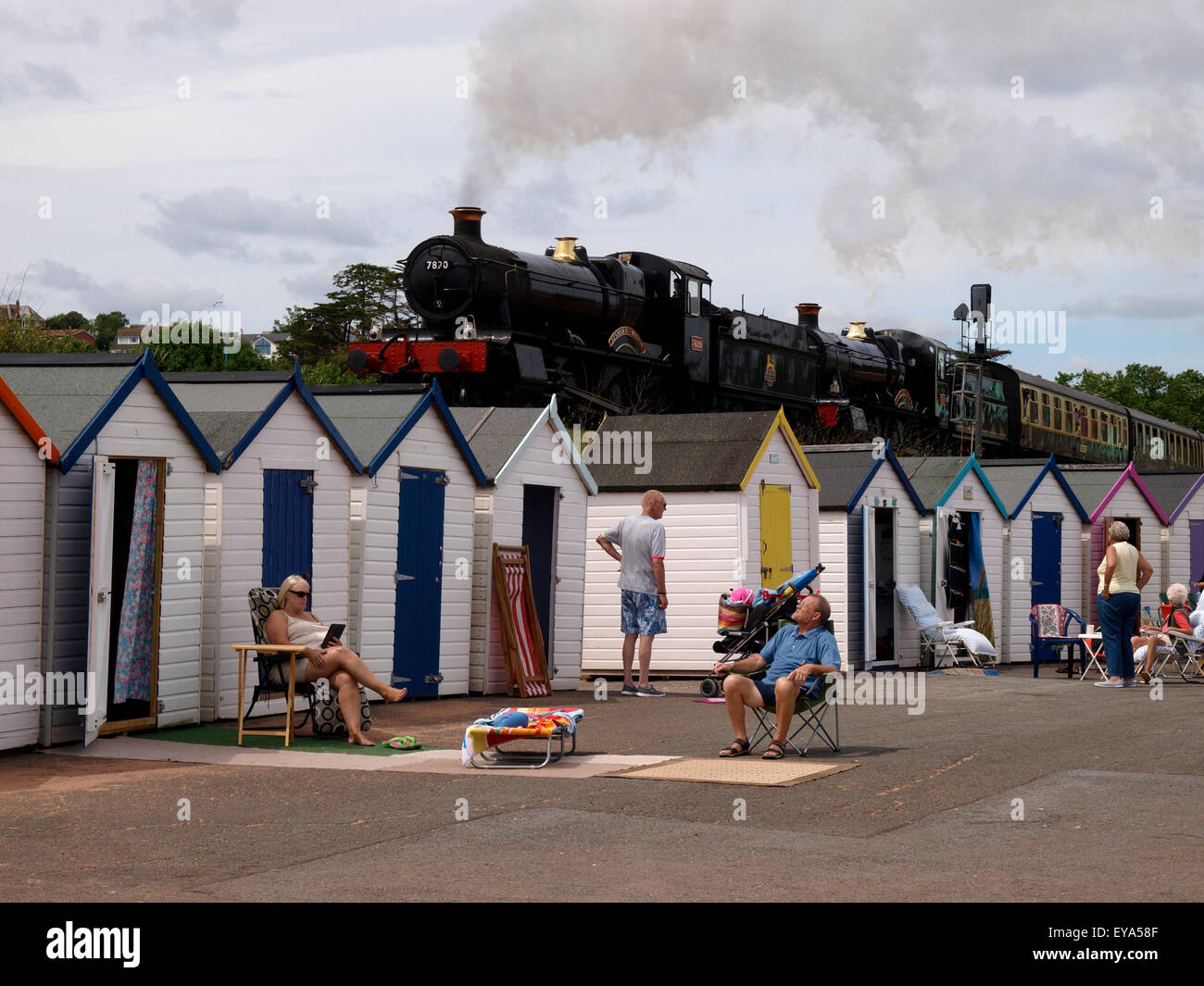 A double header, two steam locomotives pulling together on the The Dartmouth Steam Railway at Goodrington Sands, - Stock Image