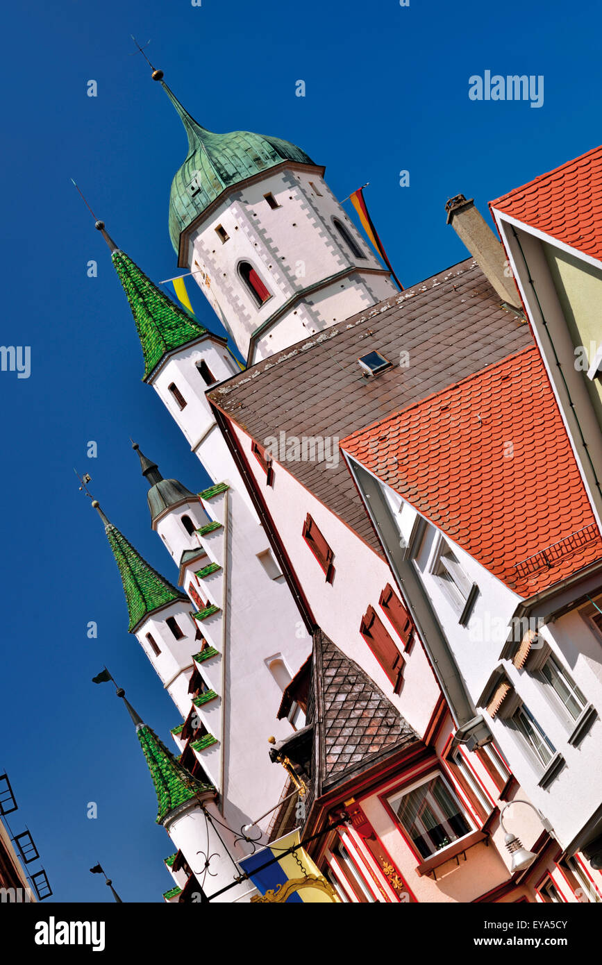 Germany, Baden-Württemberg: Detail of the church tower and New Town Hall  in Biberach an der Riss - Stock Image