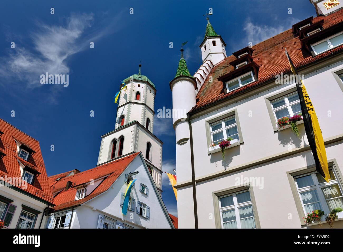 Germany, Baden-Württemberg: Detail of the church tower and typical houses in Biberach an der Riss - Stock Image