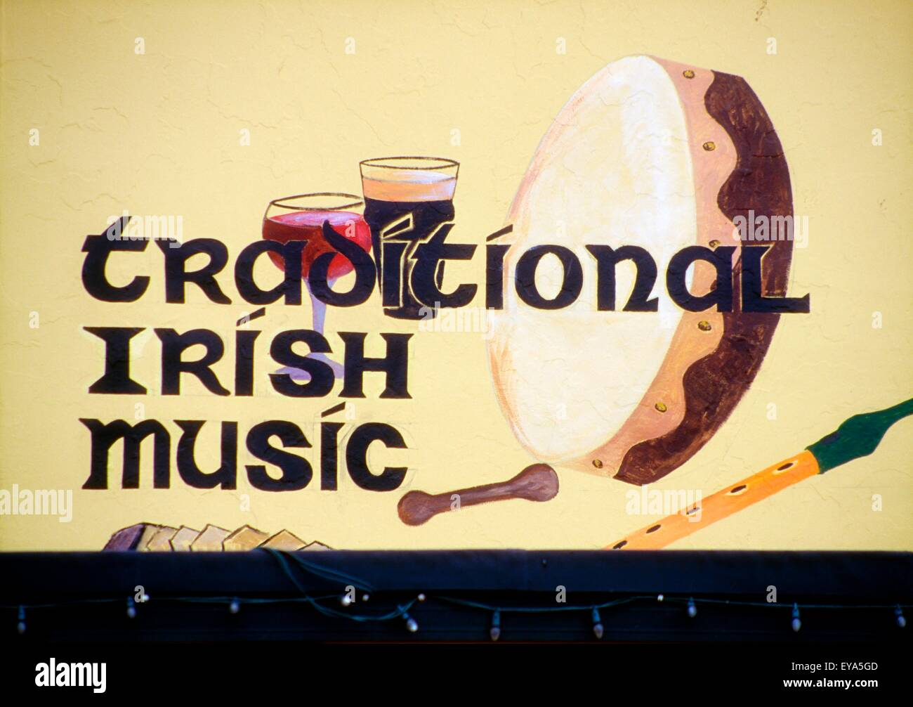 Lahinch, County Clare, Ireland; Traditional Pub Sign - Stock Image