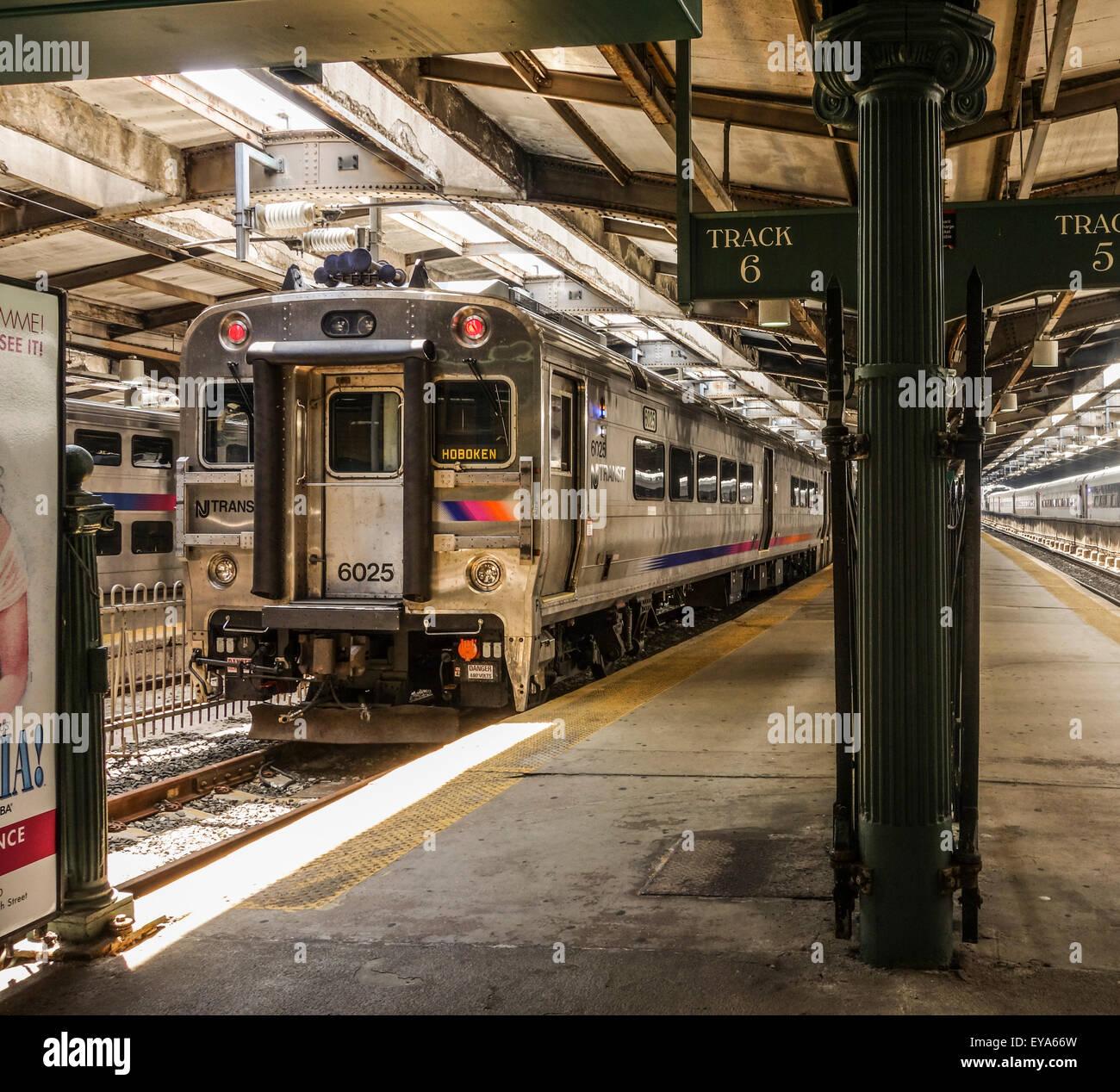 Train station, Erie Lackawanna Hoboken, historical Train Terminal, New Jersey USA. - Stock Image