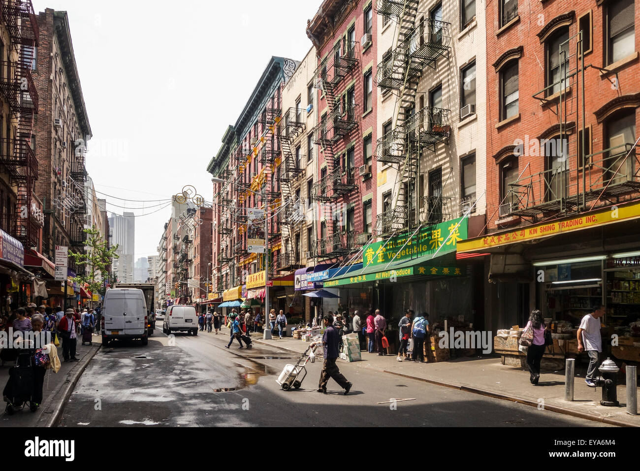 Street view of Chinatown, Mott street, Manhattan, New York City, USA. - Stock Image