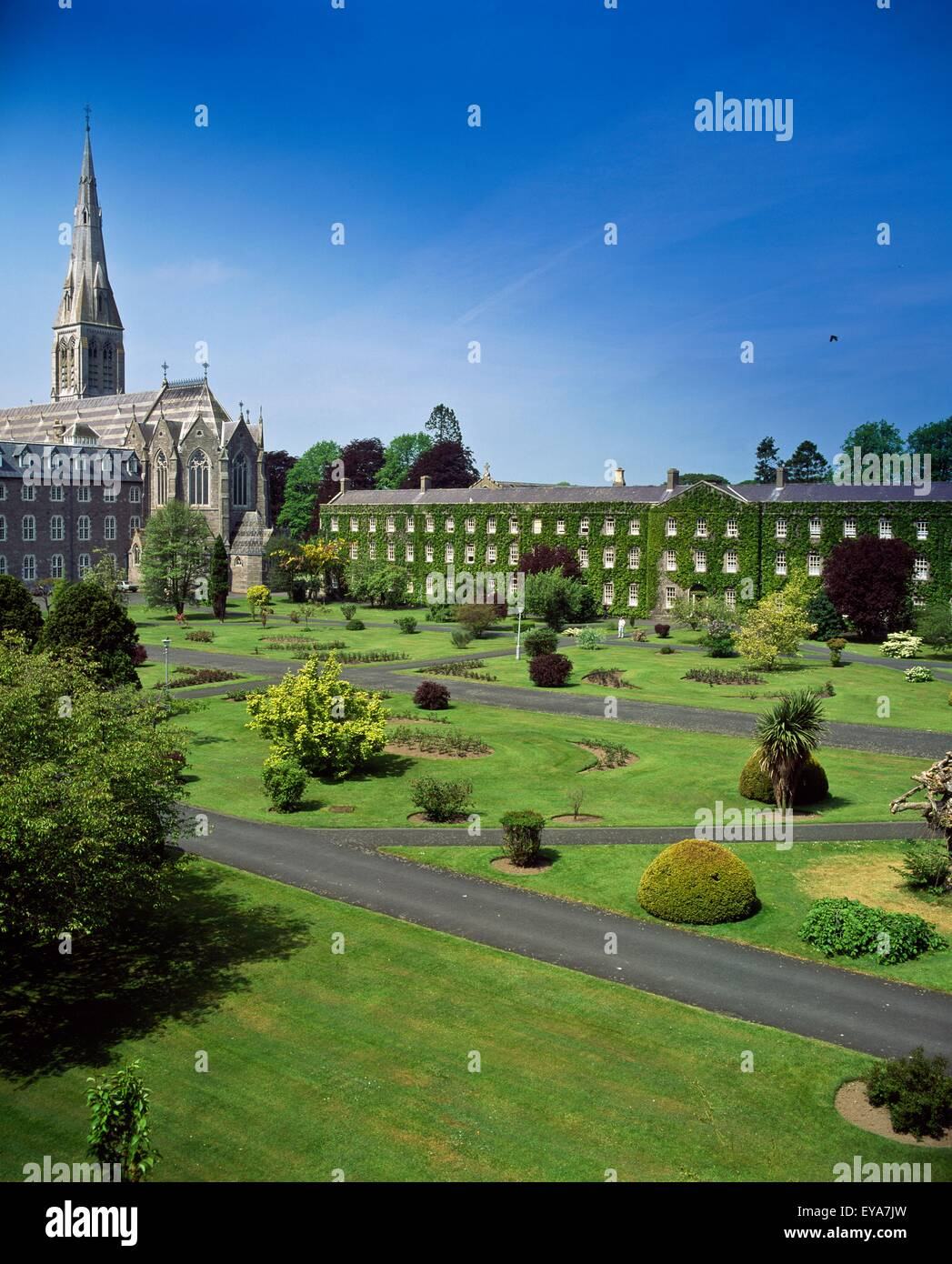 Formal Garden In Front Of A College, St. Patrick's College, Maynooth, County Kildare, Republic Of Ireland - Stock Image