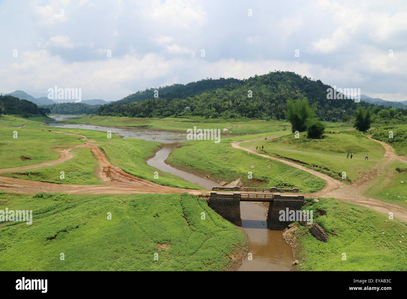A view from the Ayappancoil Hanging Bridge, near Kattappana; an awesome combination of stream, green meadows and - Stock Image