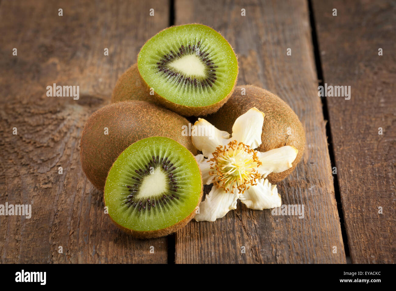 Kiwi fruits with their blossom on rustic wooden background - Stock Image